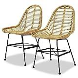 Tidyard 2 pcs Chaise de Salle à Manger en Rotin Naturel pour Jardin 49 x 56 x 84 cm