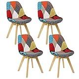 Injoy Life Lot de 4 chaises de salle à manger modernes en patchwork avec pieds en bois massif et assise rembourrée pour cuisine, salon, bureau, rouge