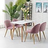 OFCASA 4 x Moderne Chaises de Salle à Manger Velours Rose Tissu Chaise de Cuisine Rembourrée avec Pieds en Métal Chaises de Salon Meubles