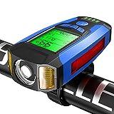 Lampe Vélo,4 en 1 Éclairage vélo avec Compteur de Vélo &Sonnette 130db &Alarme,Éclairage Antichoc Impermeable IPX64 Cycliste,5 Modes de Luminosité et sons,USB Lumière Vélo pour VTT VTC Cycliste (Bleu)