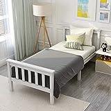 Modern Luxe Lit simple en bois de pin massif avec sommier à lattes et tête de lit - Pour matelas de 200 x 90 cm - Blanc laqué- Lit pour enfant, adolescent ou invité