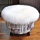 KAIHONG Faux Peau de Mouton en Laine Tapis 45 x 45 cm Imitation Toison Moquette Fluffy Soft Longhair Décoratif Coussin de Chaise Canapé Natte (Rond Blanc)