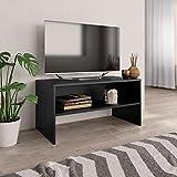 vidaXL Meuble TV Armoire Basse avec Un Compartiment Ouvert Meuble Multimédia Stéréo Salon Salle de Séjour Maison Noir 80x40x40 cm Aggloméré
