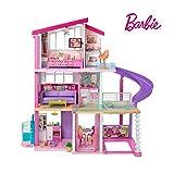 Barbie Mobilier Dreamhouse, maison de poupées à deux étages avec ascenseur, piscine, toboggan, cinq pièces et garage, jouet pour enfant, FHY73
