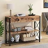 Tribesigns Table Console avec tiroir et étagères de Rangement à 2 Niveaux, Table de Couloir Console d'entrée Industrielle en Bois et métal, Table d'appoint de canapé Rustique pour entrée, Salon