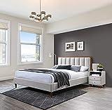 Heron Lit capitonné léger 180 x 200 cm / Tête de lit capitonnée / Lit avec support en bois / Montage facile / Lit capitonné beige