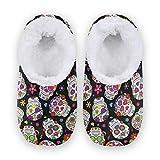 TropicalLife JNlover Pantoufles confortables en polaire avec motif tête de mort et fleurs pour homme et femme - - multicolore, Large