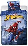 Housse de Couette 140x200 cm + Taie d'oreiller 65x65 cm Spiderman (Bleu, 140X220)