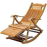 Chaise Longue Pliante Jardin,Chair Fauteuil Lounging Rocker Deck Relaxing Recliner Lounger Seat Bamboo Indoor Outdoor avec Foot Massager , Support 440lb