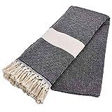 Carenesse Couvre-lit géométrique noir naturel, 240 x 200 cm, couvre-lit toutes saisons de qualité supérieure 100 % coton avec franges, plaid pour canapé, jeté de lit, plaid
