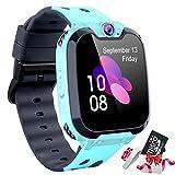 Montre Intelligente Enfants [Carte SD 1 Go Incluse] - Téléphone Kids Smart Watch avec Conversation Bidirectionnelle SOS MP3 7 Jeu Appareil Calculateur Photo Lampe de Poche Réveil Caméra (Bleu)