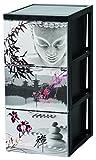 Iris Ohyama SCF-303 Tour de Rangement sur roulettes 3 tiroirs Style Chest, Plastique, Thème Japon, 39x29x61,5 cm