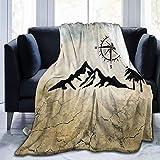 XCNGG couvertures de literie couvertures de sieste couvertures de climatisation Nature Mountain Compass Camper Lap Blanket Cozy Flannel Fleece Throw Blanket No Shedding Premium Warm Couch Blanket Luxu