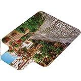 Tapis de chaise toscane, historique, méditerranéenne, ville italienne en ombrie, 91,4 x 121,9 cm, tapis de protection pour maison, vert ivoire rouge