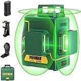 Niveau Laser Vert 3x360° POPOMAN,3D Professionnel Laser Croix 45m, Décoration Intérieure, USB Charge, Autonivellement et Mode Pulsé, Sac (Incl.5200mAh batterie au lithium et Support magnétique)