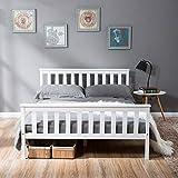 Cadre de lit en bois massif Double cadre de lit simple Base lit Bois pin naturel tête de lit et lattes Grand espace rangement enfants Adolescents Adultes Meubles chambre coucher Blanc (Double)