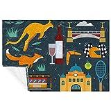 BestIdeas Plaid doux et chaud avec motifs de kangourou Melbourne - Pour lit, canapé, pique-nique, camping, plage - 150 x 100 cm