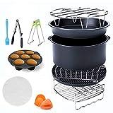 Accessoires Pour Friteuse à air chaud Set d'accessoires pour friteuse universelle 12 pièces,Airfryer avec tourtière/plaque à pizza/grille en métal/grille/porte pain
