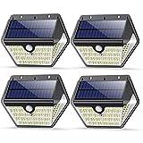VOOE Lampe Solaire Extérieur 150 LED 4 Packs 2000mAh 1200LM Applique Murale Sans Fil Lumière Solaire avec Détecteur de Mouvement éclairage Solaire Extérieur pour Jardin Piscine Maison Cour