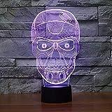 Neuf 3d Tête de mort Veilleuse lumière de nuit 7 Changement de couleur lampe de table LED enfants Décor Cadeau