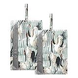 F17 Lot de 2 sacs à chaussures de voyage géométriques japonais, motif grue japonaise, étanche, portable et léger