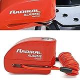 RADIKAL RK66R Antivol Bloque Disque Alarme 110db Universel Moto Scooter Vélo, 3 clés de sécurité, Câble Rappel 1.5m, Sac à Dos et Batteries de Rechange, 6 mm