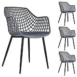 IDIMEX Lot de 4 chaises Lucia pour Salle à Manger ou Cuisine au Design Retro avec accoudoirs, Coque en Plastique Gris et 4 Pieds en métal laqué Noir