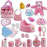 deAO Sac de 28 Accessoires de poupée avec de la Nourriture, des vêtements, Une Peluche, des Jouets de Bain, Une tétine et Bien Plus Encore – Super Set pour s'occuper de bébé !