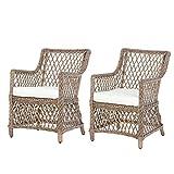 Lot de 2 fauteuils Lounge de Jardin Style Cosy Coussins Assise déhoussables Inclus Polyester crème résine tressée Imitation rotin Beige