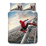 XWXBC Spiderman Parure de lit 3 pièces avec housse de couette 3D 3 pièces (housse de couette + 2 taies d'oreiller) Épais et doux (A04, Double 200 x 200 cm)