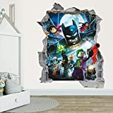 LCFF 3D Autocollant Stickers Muraux Sticker Mural 3D Batman Décorations murales Pépinière murales murales Superhero 60x90cm Vinyle Fond d'écran pour Enfants Chambre à Coucher pour Enfants