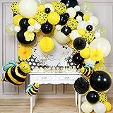 PartyWoo Ballon Abeille, 107 pcs Ballons Abeille, Ballons Jaune et Noir, Ballon Pois, Ballon Blanc, Fleurs en Papier, Boule en Nid d'abeille, Éventail en Papier, Toile de Fond pour Abeille Decoration