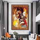 wZUN Art Africain coloré Femmes Portraits Abstraits sur Toile Peinture à l'huile Affiches et Impressions Salon décoratif Mur Art Photos 50x70 cm