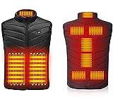9 Places Gilet Chauffant Hommes Femmes Chauffage USB Chauffage Veste chauffante Vêtements Thermiques pour la Chasse Veste Hiver Chauffage Veste S-6XL (Color : Black, Size : XL)