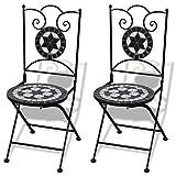 Anself Jeu de 2 chaises mosaïques de Bistro Noire/Blanche