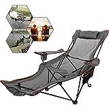 Ukiki Chaise De Camping Pliante avec Repose-Pieds Chaise Longue en Résille avec Porte-Tasse Sac De Rangement pour Camping Pêche Et Activités De Plein Air (Gris)