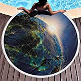 Couverture de Plage World Tapestry Yoga Mat Glands Circle Vivid Globe of World in Space Covered by Luminous Network and Rising Sun Image Use for Kids Women Men Boy Girl Blue Yellow Green (Diameter 59