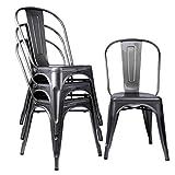Lot de 4 chaises classiques en métal industriel pour repas de cuisine, café, bistrot, intérieur, fête de mariage, confortable et vintage