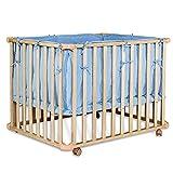 dibea Lit à barreaux pour bébé mobile à roulettes Lit Bébé matelas 3 étapes réglable en hauteur 98x73x70 cm Bleu