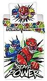 BrandMac Power Rangers Parure de lit réversible en coton pour enfant Motif robots 135 x 200 cm et 80 x 80 cm