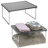 mDesign rangement pour vêtements (lot de 2) – étagère en métal et plastique pour plus d'espace rangement dans l'armoire – également utilisable comme meuble de rangement dans la cuisine – gris ardoise