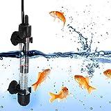 Jacksking Chauffage d'aquarium, Chauffage d'aquarium Submersible, 25W / 50W / 100W / 200W / 300W avec 2 ventouses Mini EU Plug 220-240V pour Eau salée pour Eau Douce(25W)