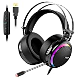 Tronsmart Glary Casque Gamer Micro Casque Gaming PS4 avec Son Surround 7.1 Virtuel ​Anti Bruit/LED Lumières/Contrôle Muet/ Soft Pads PC Gamer Casque pour Nintendo Switch, PlayStation 4, MacBook, iMac