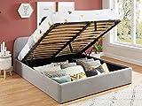 HOMIFAB Lit Coffre scandinave 140x190 Gris Clair avec tête de lit + sommier à Lattes - Collection Lena.