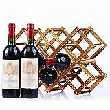XQK Casier à vin en Bois 10 Bouteilles de capacité Pliable en Bois Naturel Porte-Bouteille de vin Support de Stockage de vin pour Affichage, décoratif, Armoire, Bar