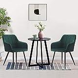 OFCASA Lot de 2 chaises de salle à manger rembourrées avec accoudoirs pieds en métal Vert velours Canapé fauteuil pour maison, restaurant, réception, salon