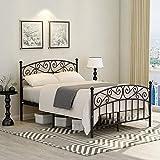 JURMERRY Cadre de lit double avec tête de lit et pied de lit en métal de style moderne en acier à lattes très résistantes, sommier à ressorts, noir