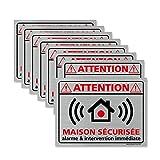 Adhésif (Lot de 8) - Planche de 8 Adhésifs Attention Maison Sécurisée - Aspect Aluminium brossé - Dimensions 80 x 60 mm - Protection Anti UV