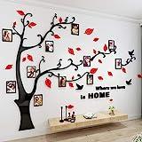 Alicemall Stickers Autocollants Muraux Amovibles 3D en Acrylique Arbre avec des Branches Incurvées et des Cadres de Photo et des Oiseaux (Arbre avec Feuilles Rouges)