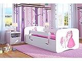 Lit d'Enfant Complet 70x140 80x160 80x180 sommier tiroir barrierèrespour Filles garçons lit Simple - Blanc - Princesse et Cheval - 70 x 140 cm